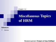 11. Miscellaneous Issues of HRM