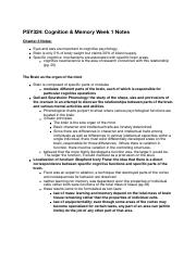 PSY324 Reading & Lecture Notes