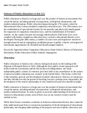 History of Public Education in the U.S. Research Paper