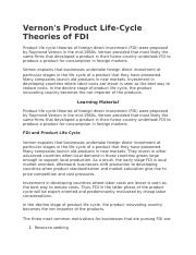 Vernon's Product Life-Cycle Theories of FDI .docx