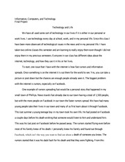 Info Sci 205 Technology and Life Final Project Essay