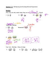 102.A04 Section 7.2 Multiplying and Dividing Rational Expressions