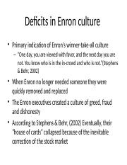 Deficits in Enron culture