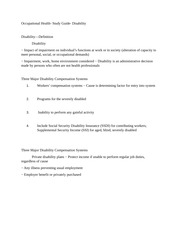 Occupational Health- Study Guide- Disability