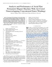 Analysis and Performance of Axial Flux Permanent-Magnet Machine With Air-Cored Nonoverlapping Concen