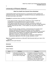 hcs 405 week two health care financial terms worksheet Introduction the hcs 405 week 1 financial terms worksheet throws light on some of the most basic concepts of the healthcare business understanding health care financial terms is a prerequisite for both academic and professional success the health care business helps the nation by providing the building blocks that the citizens need to live a.