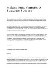 Making Joint Ventures A Strategic Success