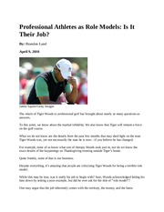 6.1 Professional Athletes as Role Models - Social Development Article #6.1