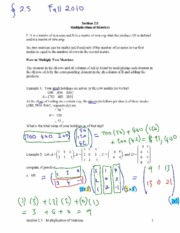 multiplication of matrices notes
