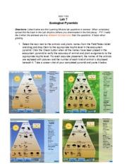 1102Lab7 - ESCI1102 Lab7 EcologicalPyramids Directions ...