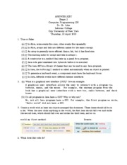 Answer Key Exam 2 2010