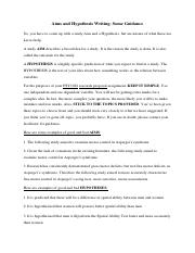 Aims and Hypothesis Writing Guide