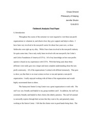 IES 103 - Philosophy of Helping - Fieldwork Analysis Final Paper