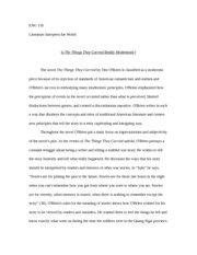 The Things They Carried Essay  Eng  Literature Interprets The  The Things They Carried Essay  Eng  Literature Interprets The World Is  The Things They Carried Really Modernistic The Novel The Things They Carried