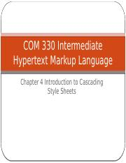 Chapter 4 Introduction to Cascading Style Sheets