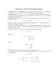 Lecture Notes on Linear Transformations