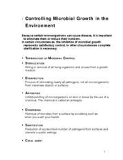 Physical Methods of Controlling Microbial Growth in the Environment