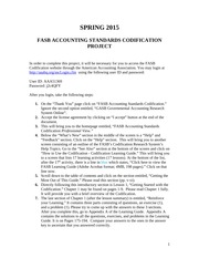 SPRING 2015 - FASB ACCOUNTING STANDARDS CODIFICATION PROJECT