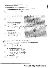 quadratic functions quiz