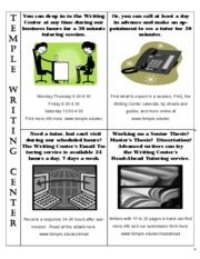 Writing Center Services at a glance