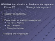 3-7 and 3-10 Strategic Management