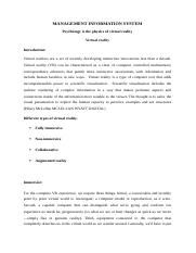 MIS Virtual reality[Assignment].docx