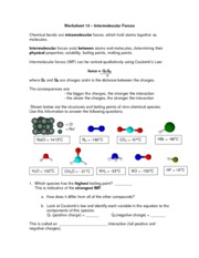 worksheet 13 worksheet 13 intermolecular forces chemical bonds are intramolecular forces which. Black Bedroom Furniture Sets. Home Design Ideas