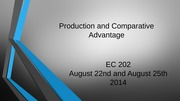 Production and Comparative Advantage_Lecture 2