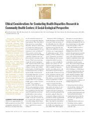 Ethical Considerations for Conducting Health Disparities Research in