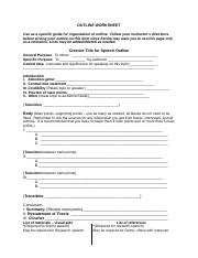 OUTLINE WORKSHEET