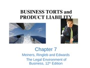 Chapter 7 Torts and Product Liability Lecture Slides