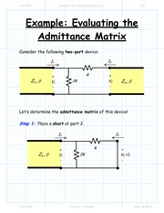 Example The Admittance Matrix