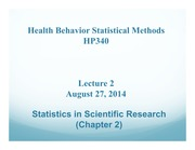 HP340 Lecture 2 - Scientific Research