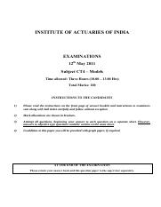 (www.entrance-exam.net)-Institute of Actuaries Of India-Subject CT4- Models Sample Paper 1