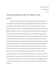 Summary and Response Paper: The Nature of Order.docx