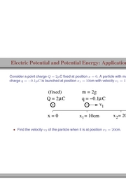 73-79. Electric Potential and Potential Energy (Application 1)