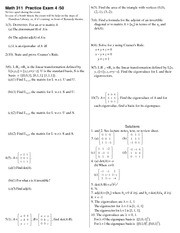 Practice Exam 4 on Linear Algebra