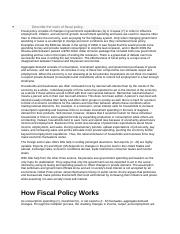 Describe the tools of fiscal policy Module 8 book text