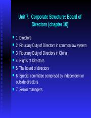 Unit 7.  Corporate Stucture (board of directors)