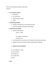 FIR 3720 Stock Valuation Models Lecture Notes