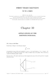 Chap 10 Applications of Definite Integral
