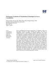 performance evaluation of virtualization technologies for server consolidation