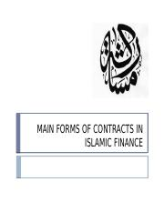 MAIN FORMS OF CONTRACTS IN ISLAMIC FINANCE New2012