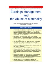 Materiality article in Journal of Accountancy