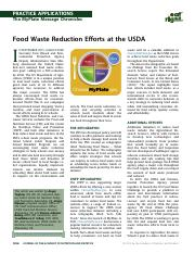 Food Waste Reduction Efforts at the USDA
