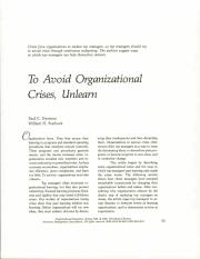 To Avoid Organizational Crisis Unlearn