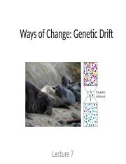 Lecture 7. Ways of change - drift