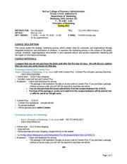 Marketing 3343 Spring 2015 Syllabus