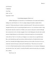 Close Reading Assignment- As You Like It