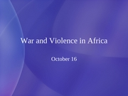 11 War and Violence in Africa